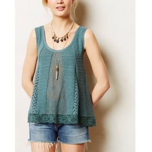 Anthropologie || Crochet Knot Lace Swing Tank